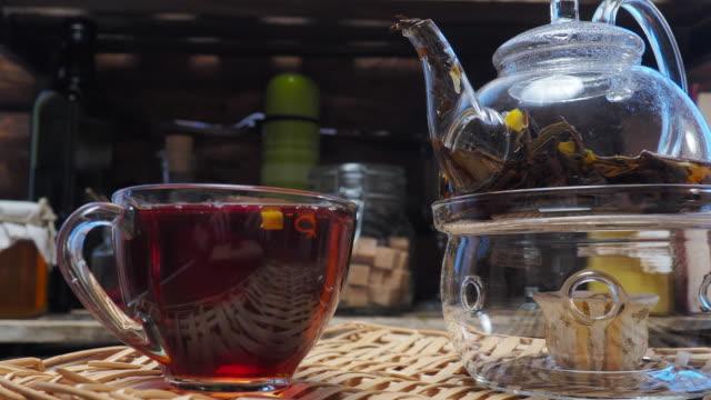 Tea with marigold flowers