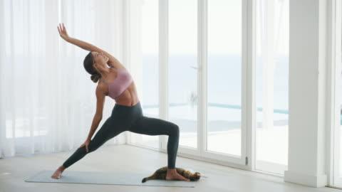 vídeos y material grabado en eventos de stock de enseña a tu cuerpo a relajarse con yoga - yoga