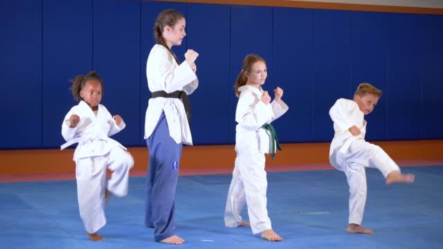 teacher and children in taekwondo class, kicking - 16 17 years stock videos & royalty-free footage