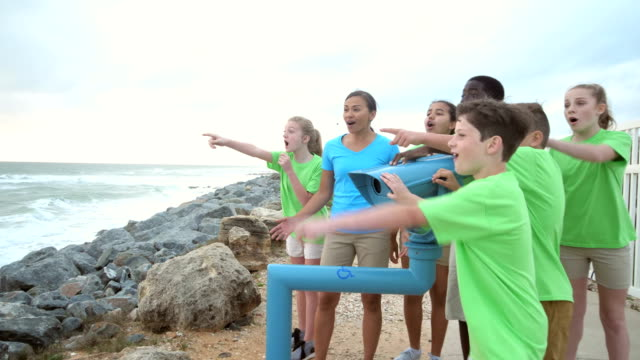 teacher and children on field trip to coastline - pacific islander teacher stock videos & royalty-free footage