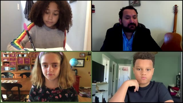 a teacher and his students virtually discuss the importance of health via video call. (audio) - teacher stock videos & royalty-free footage