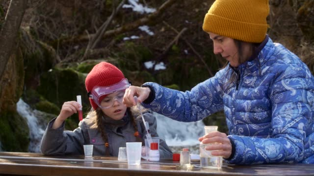teacher and student having fun while learning - spring flowing water stock videos & royalty-free footage