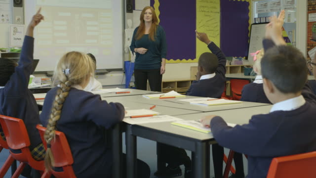 teacher and student in classroom - england stock-videos und b-roll-filmmaterial