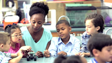 teacher and students in elementary school science lab - showing stock videos & royalty-free footage