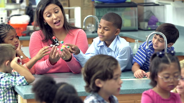 teacher and students in elementary school science lab - insegnante video stock e b–roll