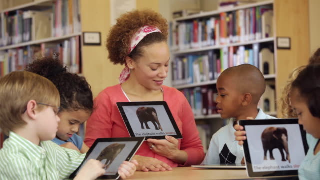 ws teacher and students reading animal adverbs book on tablet computers in library / richmond, virginia, usa - teaching stock videos & royalty-free footage