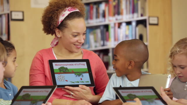 ms teacher and students reading frog life cycle book on tablet computers in library / richmond, virginia, usa - life cycle stock videos & royalty-free footage