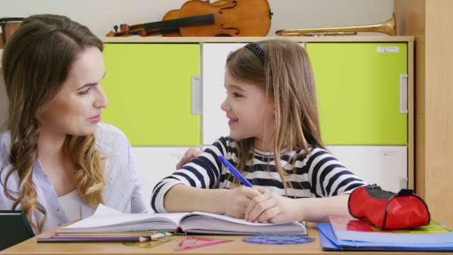 teacher assisting girl - schoolgirl stock videos & royalty-free footage