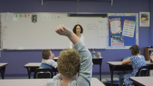 teacher calls on boy with hand raised - instructor stock videos & royalty-free footage