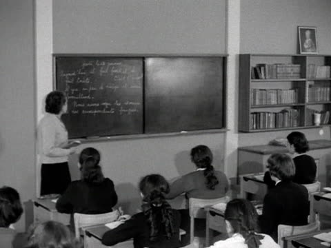 a teacher conducts a french lesson at the newly built ravenscroft secondary school - french language stock videos & royalty-free footage