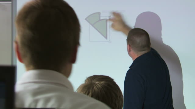teacher demonstrating geometry with an overhead projector - see other clips from this shoot 1148 stock videos and b-roll footage
