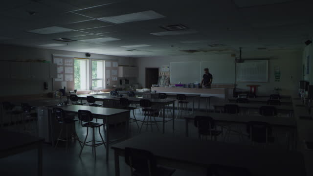 teacher enters empty school classroom - canadian politics stock videos & royalty-free footage
