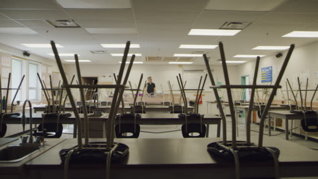 Teacher enters empty school classroom