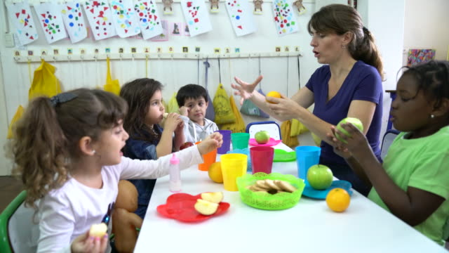 teacher explaining fruits to students in classroom - elementary age stock videos & royalty-free footage