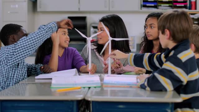 ein lehrer erklärt windkraftanlagen anhand von modellen mit einer gruppe von schülern im unterricht. - herumwirbeln stock-videos und b-roll-filmmaterial