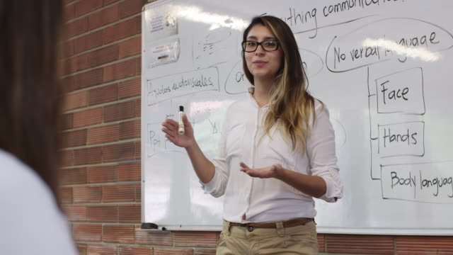 vidéos et rushes de ds, ms a teacher lectures students in a class / medellin, colombia - seulement des adultes