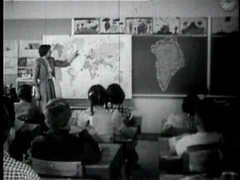 MONTAGE B/W MS Teacher pointing to map in classroom / MS ZI CU Girl daydreaming at her desk / Oakdale, California, USA