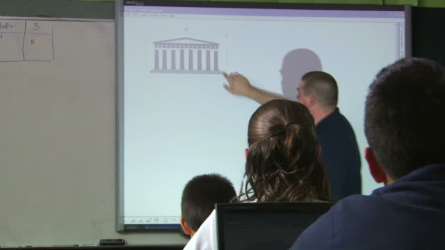 teacher showing a graphic on the overhead - see other clips from this shoot 1148 stock videos and b-roll footage
