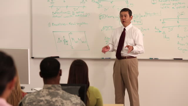 ws pan teacher talking to college class in front of dry erase board / richmond, virginia, usa - lecture hall stock videos & royalty-free footage