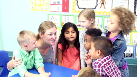 teacher talking with her class of young school children - 6 7 years stock videos & royalty-free footage