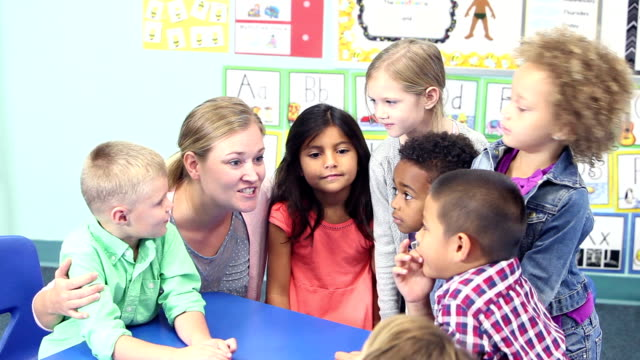 teacher talking with her class of young school children - preschool student stock videos and b-roll footage
