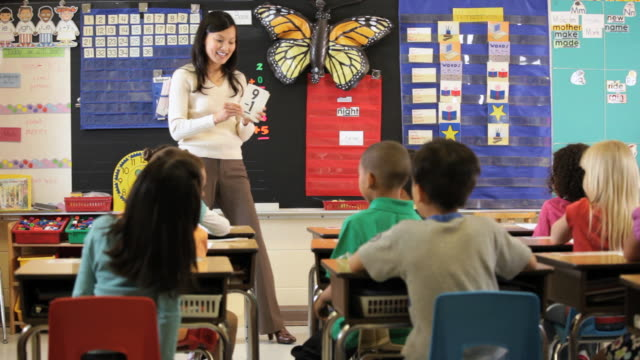 MS PAN Teacher teaching maths in classroom with flash cards / Richmond, Virginia, United States