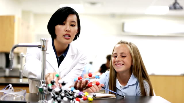 Teacher teaching young student in science class