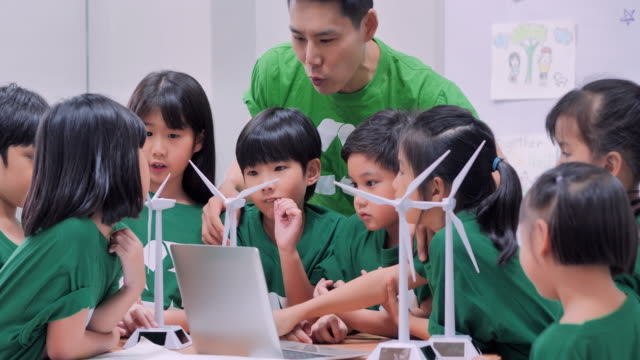 teacher with children at school learning about wind power.elementary school pupils learning about renewable energy.education, science, technology, children and people concept.watermarks for water - power in nature stock videos & royalty-free footage