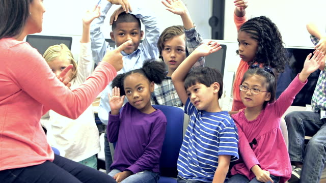 teacher with elementary school students raising hands - classroom stock videos & royalty-free footage