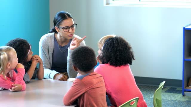 vídeos y material grabado en eventos de stock de docente con estudiantes de preescolar, contar una historia - historia