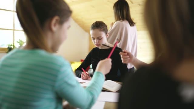 vídeos de stock e filmes b-roll de teacher with students in private school - professora