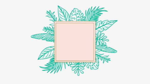 teal golden animated placard with hand drawn leaf - branch plant part stock videos & royalty-free footage