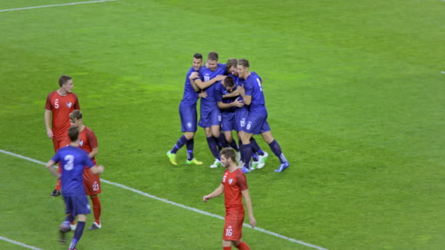 team celebrating the goal at a soccer match - soccer goal stock videos and b-roll footage