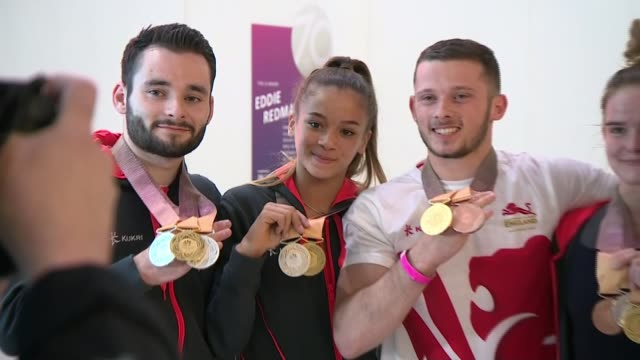 team england athletes return to uk england london heathrow airport int ***flash commonwealth games athletes including courtney tulloch and alice... - fototermin stock-videos und b-roll-filmmaterial