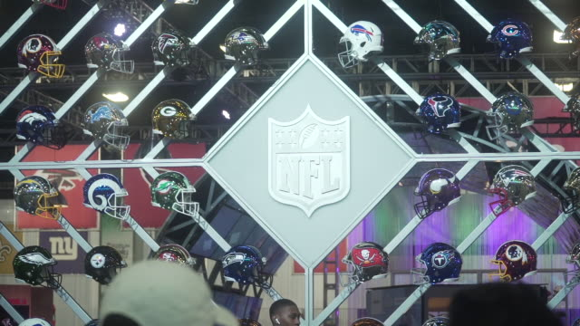 atmosphere team helmet display at the super bowl experience presented by lowes at miami beach convention center on january 29 2020 in miami beach... - super bowl stock videos & royalty-free footage