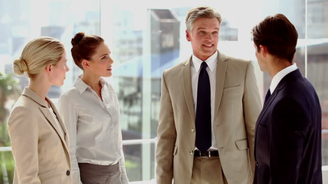 vidéos et rushes de team of business people discussing together - costume complet