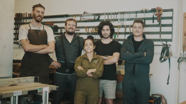 team of carpenters of a small workshop (slow motion) - cultura argentina video stock e b–roll