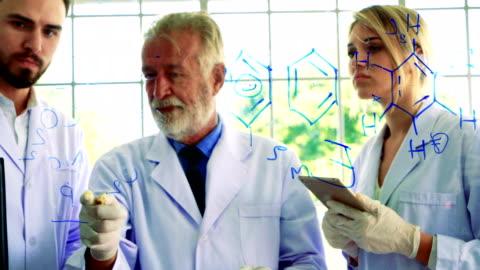 vídeos y material grabado en eventos de stock de equipo de químicos con confianza dibuja fórmula a bordo transparente - fórmula química