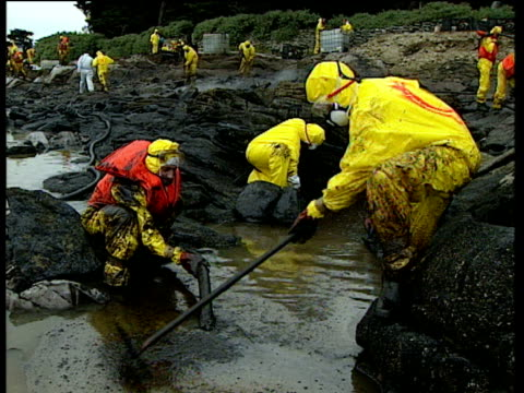 vidéos et rushes de team of clean up operation workers in protective clothing sift and pump oil out of oil polluted coast - marée noire