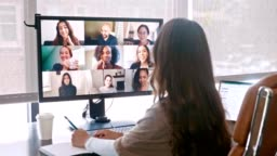 Team of creative professional meet virtually during COVID-19 crisis