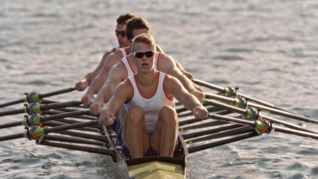 slo mo team of four athletes rowing on a sunny lake - rowing stock videos & royalty-free footage