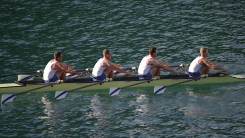 slo mo team of four male athletes sculling across a lake - less than 10 seconds stock videos & royalty-free footage