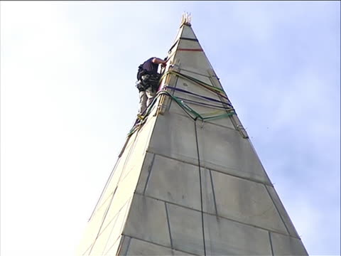 earthquake a team of inspectors rappel down the washington monument to look for damage caused by the august 2011 northeast earthquake engineers began... - august stock videos & royalty-free footage