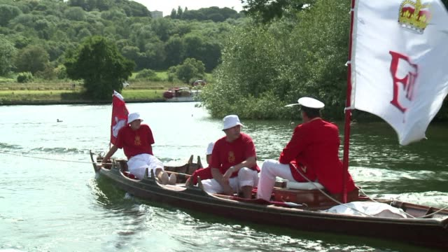 a team of men wearing feathered caps and rowing up the river thames in search of the queens swans could be a scene from the history books but the... - akvatisk organism bildbanksvideor och videomaterial från bakom kulisserna