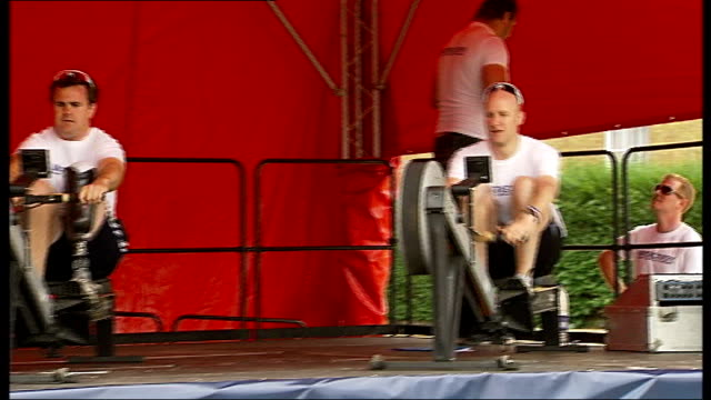 team of rowers raises money to help families of injured armed forces personnel close shots rower with prosthetic leg / various general views rowers /... - rowing stock videos & royalty-free footage