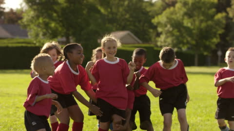 team of soccer players celebrating - girls stock videos & royalty-free footage