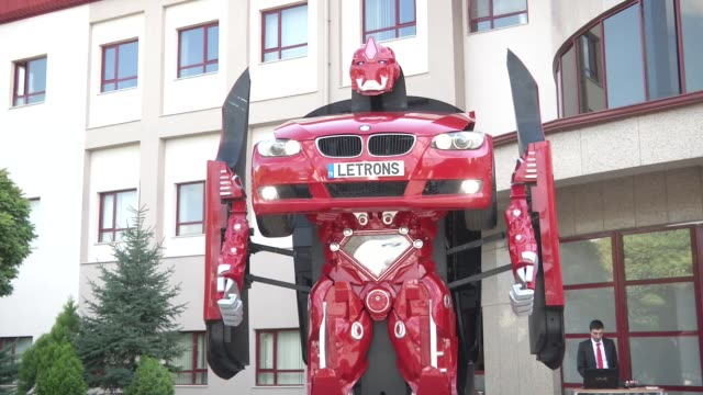 team of turkish engineers are turning science fiction into science reality by building a real-life ''robot car'' that morphs from a car to a giant... - morphing video stock e b–roll