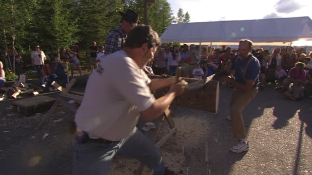 vídeos de stock, filmes e b-roll de ms zi zo pan team of two men competing in log sawing contest at golden days festival in pioneer park / fairbanks, alaska, united states - contestant