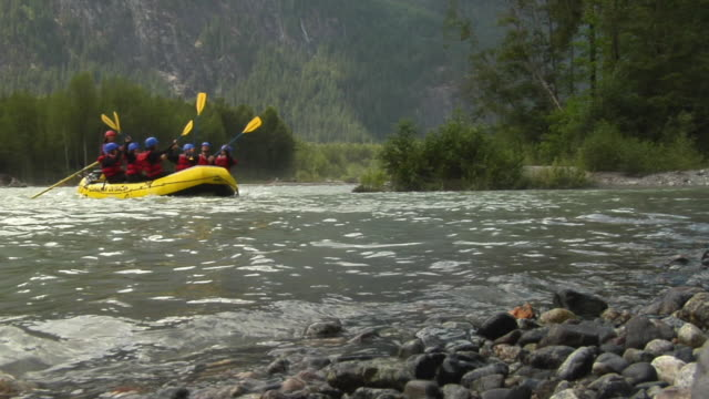 ws la team rafting, approaching shore / squamish, bc, canada - squamish stock videos & royalty-free footage
