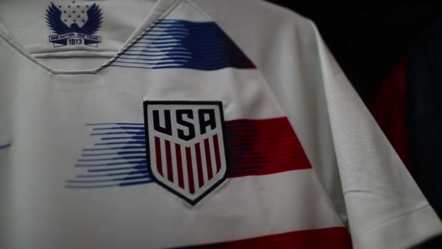 vídeos de stock, filmes e b-roll de team usa jerseys are seen as the world cup tournament being held in russia is set to kickoff on june 13 2018 in miami florida as the world prepares... - uniforme de equipe